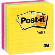 Post-it® 4 x 4 Line-Ruled Ultra Colors Notes, 3 Pads/Pack