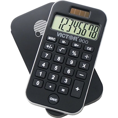 Victor® 900 8-Digit Pocket Calculator with Slide-On Cover and AntiMicrobial Protection, 10 Pack