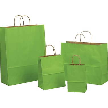Tinted Color Shadow  Apple Green  with Stripe Shopping Bag, Size 16in. W x 6in. D x 13in. H