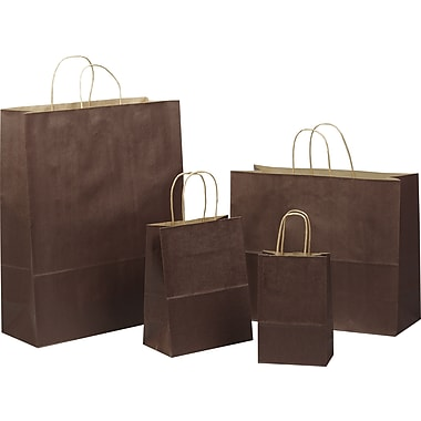 Tinted Color Shadow Chocolate Brown with Stripe Shopping Bag, Size 8in. W x 4-3/4 in. D x  10-1/2in. H