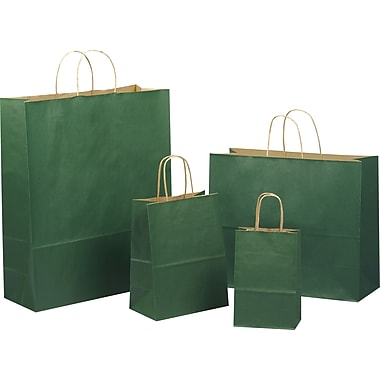 Tinted Color Shadow Forest Green with Stripe Shopping Bag, Size 16in. W x 6in. D x 13in. H