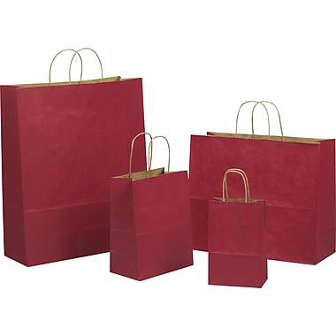 Tinted Color Shadow Really Red  with Stripe Shopping Bag, Size 8 in. W x 4-3/4in. D x 10-1/2in. H