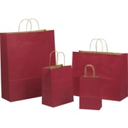 Tinted Color Shadow Really Red  with Stripe Shopping Bag, Size 8  W x 4-3/4 D x 10-1/2 H