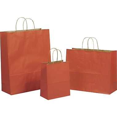 Tinted Color Shadow Terra Cotta  with Stripe Shopping Bag, Size 8in. W x 4-3/4 in. D x  10-1/2in. H