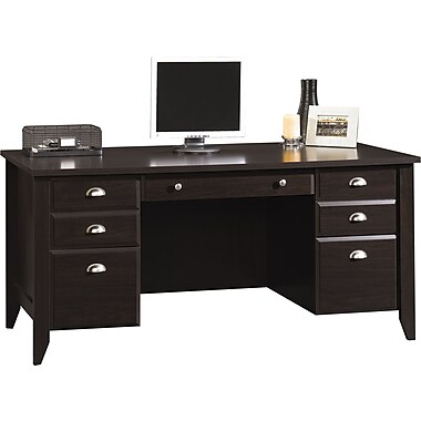 Sauder® Shoal Creek Collection Executive Desk, Jamocha Wood
