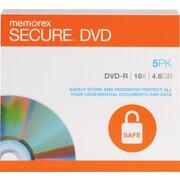 Memorex 5/Pack 4.6GB Secure DVD-R, Jewel Cases