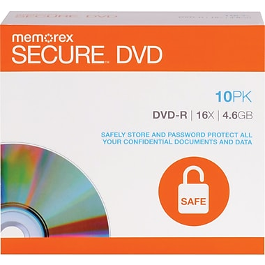 Memorex 10/Pack 4.6GB Secure DVD-R, Jewel Cases