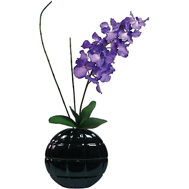 Laura Ashley Real Touch Purple Vanda Orchid in Designer Ceramic Container