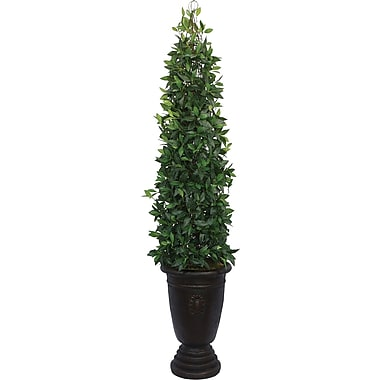Laura Ashley® 7ft Silk Bayleaf Tower Vine Topiary in Decorative Planter