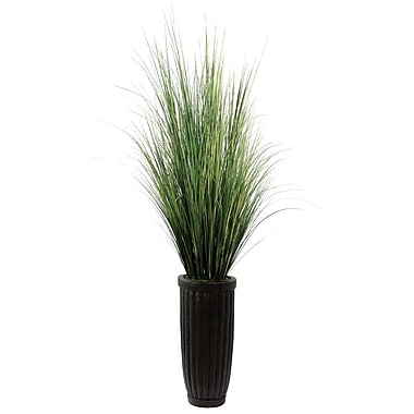 Laura Ashley 7' Silk Grass Floor Plant in Contemporary Planter