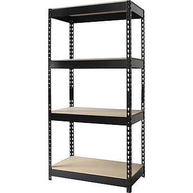 Hirsh IRON HORSE 4-Shelf Industrial Steel Shelving, Black