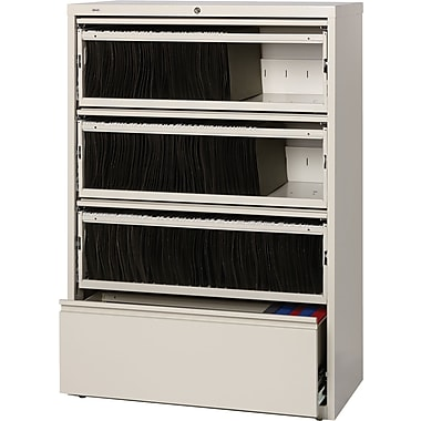 Hirsh HL 8000 SERIES End Tab 4-Drawer Lateral File Cabinet, Putty