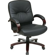 Office Star Mid-Back Wood Finish and Bonded Leather Executive Chair, Fixed Arms, Black