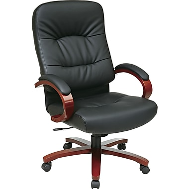 Office Star™ Elegant Wood Finish Series Bonded Leather Executive High-Back Chair, Black and Cherry