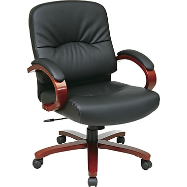 Office Star™ Elegant Wood Finish Series Bonded Leather Executive Mid-Back Chair, Black and Cherry