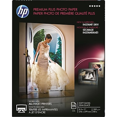 HP® - Papier photo Premium Plus, légèrement lustré, 8 1/2 po x 11 po, paq./25