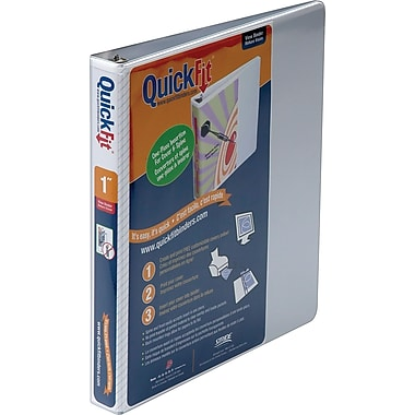 Stride QuickFit 1-Inch D 3-Ring View Binder, White (87010)