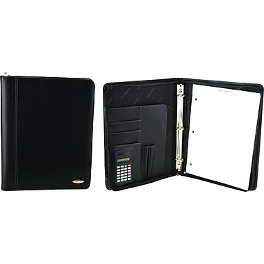 "Samsonite® 3-Ring Zip-Around Binder Padfolio/Organizer, Black, Size 11"" L x 13.5"" H x 2"" D"