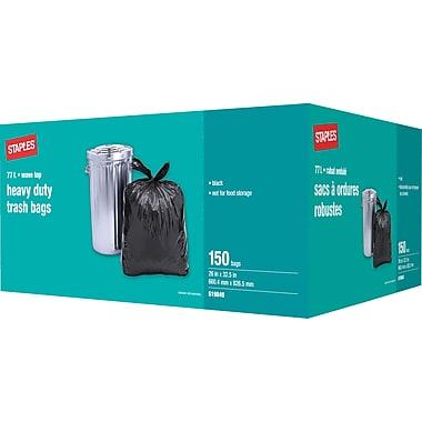 Staples® Heavy-Duty Garbage Bags, Black, 26
