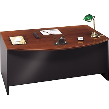 Bush Westfield Bow Front Desk, Hansen Cherry and Graphite Gray