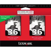 Lexmark 36 Black Return Program Ink Cartridge (18C2236), 2 Pack