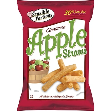 Sensible Portions® Apple Straws, Cinnamon Apple, 1 oz. Bags, 8 Bags/Box