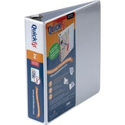 2  Stride® Quick Fit D-Ring View Binder, Capacity,  White