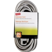 Staples 25' Extension Cord, 3-Outlet, Gray