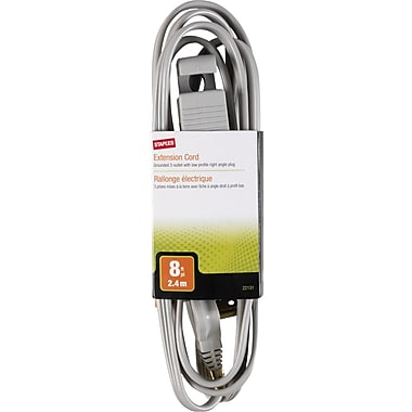 Staples 8' Extension Cord, 3-Outlet, Gray