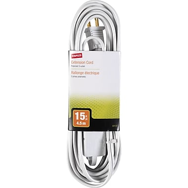 Staples 15' Extension Cord, 3-Outlet, White