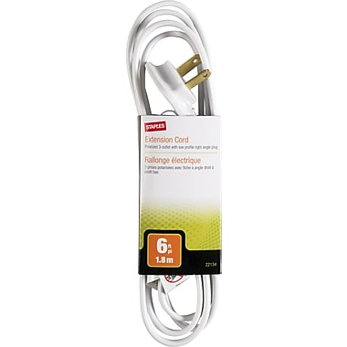 Staples 6' Low Profile Extension Cord, 3-Outlet, White
