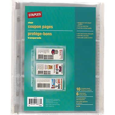 Staples 3 Pocket, Heavy-Duty Coupon Pages, Clear, 5