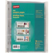 "Staples 3 Pocket, Heavy-Duty Coupon Pages, Clear, 5"" x 8"" 10/Pack (41178)"