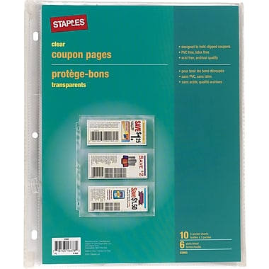 Staples 3 Pocket, Heavy Duty Clear Coupon Pages, 8-1/2in. x 11in.
