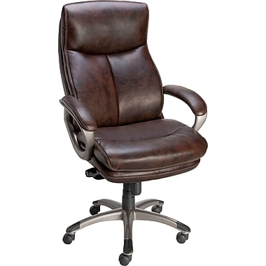 Staples Eckert Bonded Leather Mid-Back Chair, Brown