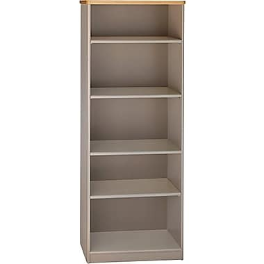 Bush Cubix 5-Shelf Bookcase, Danish Oak/Sage, Fully assembled