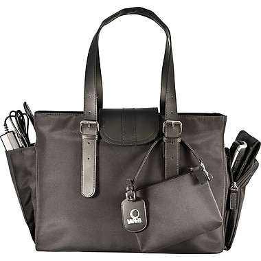 WIB Liberator Leather look Trim Laptop Tote Bag, Black,  16.1in.