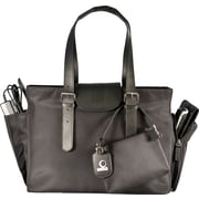 WIB Liberator Leather look Trim Laptop Tote Bag, Black,  16.1