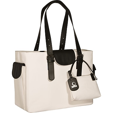 WIB Liberator Leather look Trim Laptop Tote Bag, White, 16.1