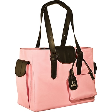 WIB Liberator Leather look Trim Laptop Tote Bag, Pink, 16.1in.