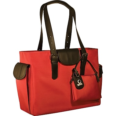 WIB Liberator Leather look Trim Laptop Tote Bag, Red, 16.1in.