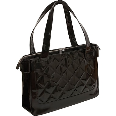 WIB Vanity Chic Quilted Notebook Tote Bag 16.1in., Black Patent with Purple Lining