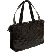 WIB Vanity Chic Quilted Notebook Tote Bag 16.1, Black Patent with Purple Lining