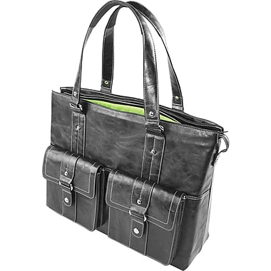 WIB Nairobi Leather Look Trim, Laptop Tote Bag 16.1in., Black with Lime Lining