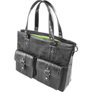 WIB Nairobi Leather Look Trim, Laptop Tote Bag 16.1, Black with Lime Lining