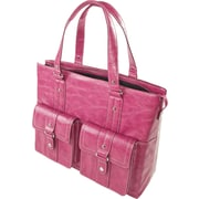 WIB Nairobi Leather Look Trim, Laptop Tote Bag 16.1, Raspberry with Black Lining