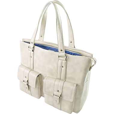 WIB Nairobi Leather Look Trim, Laptop Tote Bag 16.1in., White sesame with Blue Lining
