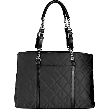 WIB Metropolitan Quilted Black Laptop Tote Bag, 15.6in.
