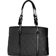 WIB Metropolitan Quilted Black Laptop Tote Bag, 15.6