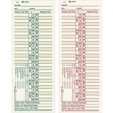 Adams Double-Sided Time Cards, Model 9675, 3-3/8in. x 9in.